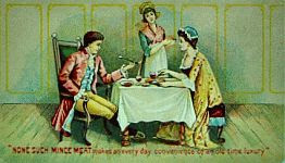 color photo of detail from a None Such Victorian trade card advertisement
