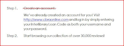 CBRAonline sign on instructions for Canadian libraries: your ILL code is username and password