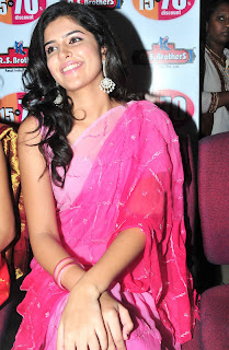 Deeksha Seth in Lovely Pink Saree Smiling Face Beauty