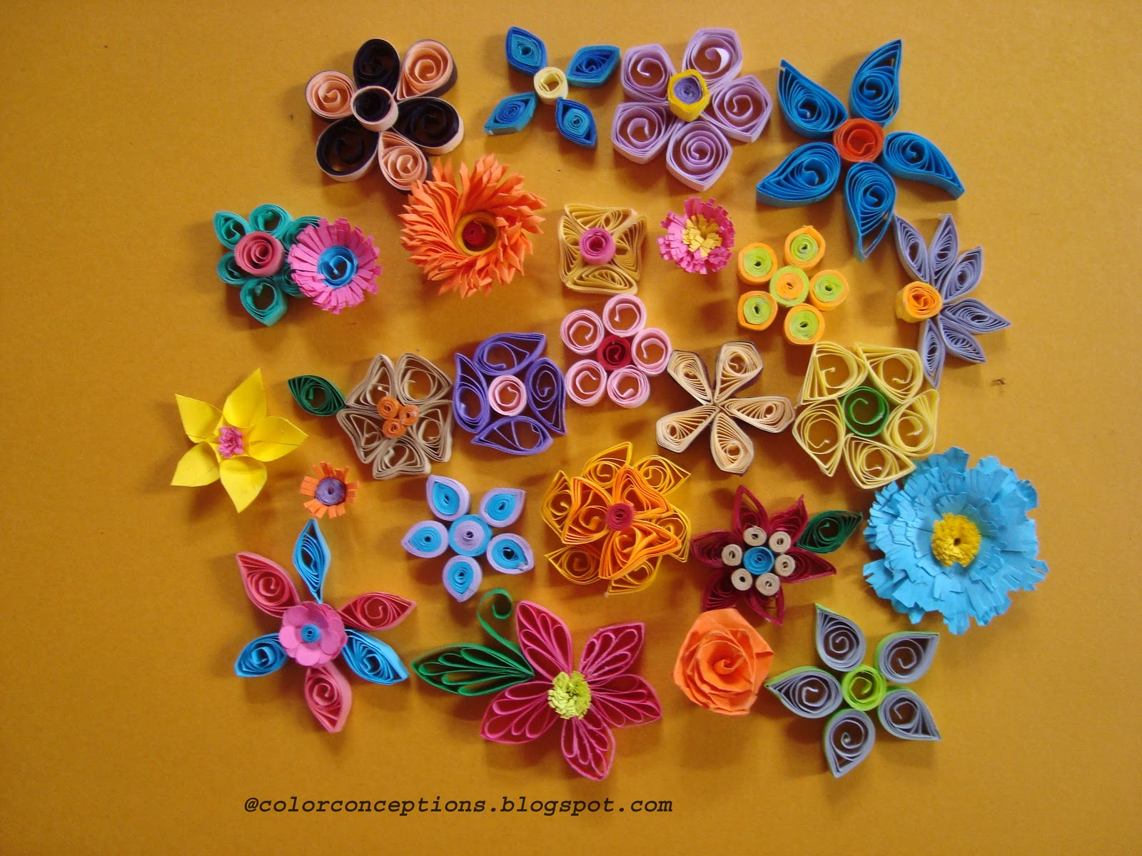 Color Conceptions Quilled Flowers And A Birthday Card