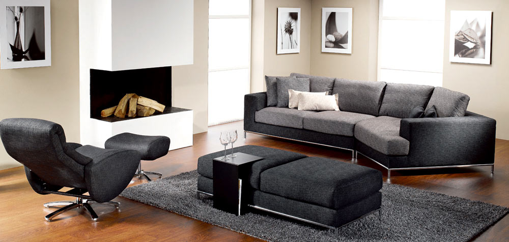 Tips for choosing living room furniture and curtains - Black livingroom furniture ...