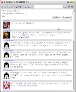 screenshot fo the twitter client