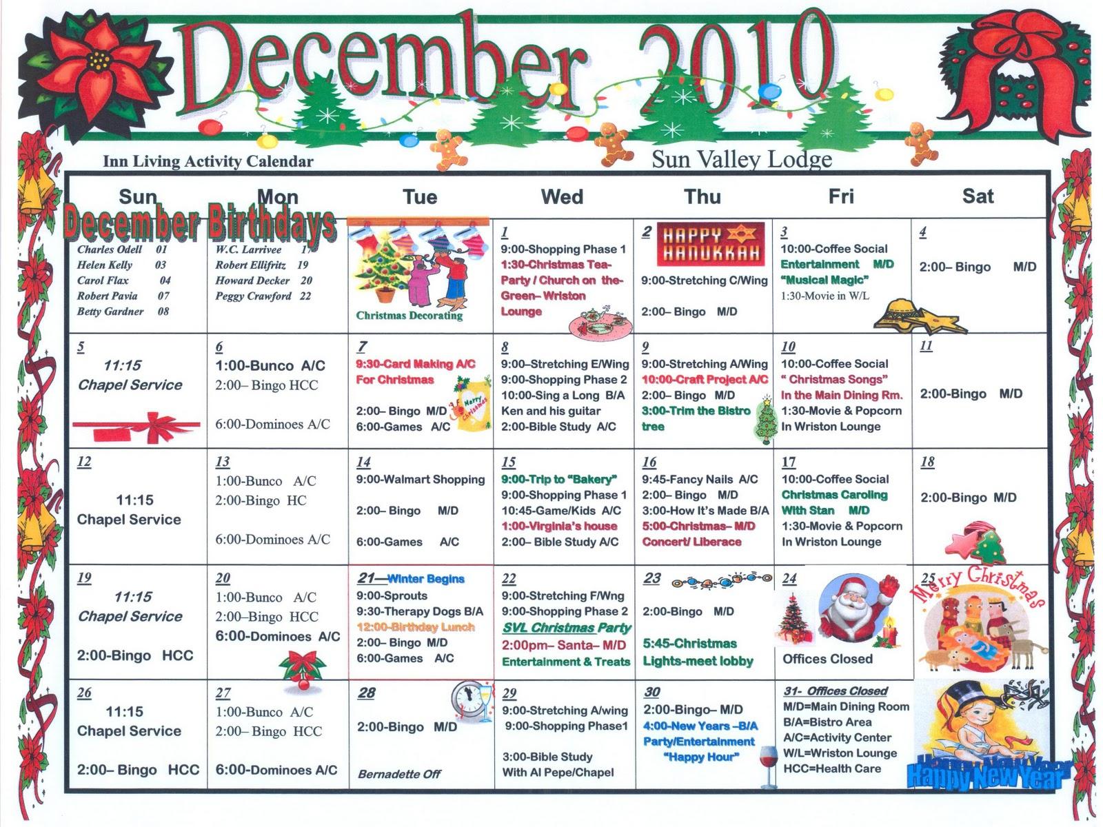 Calendar Ideas For Nursing Homes : Activities for nursing homes calendar