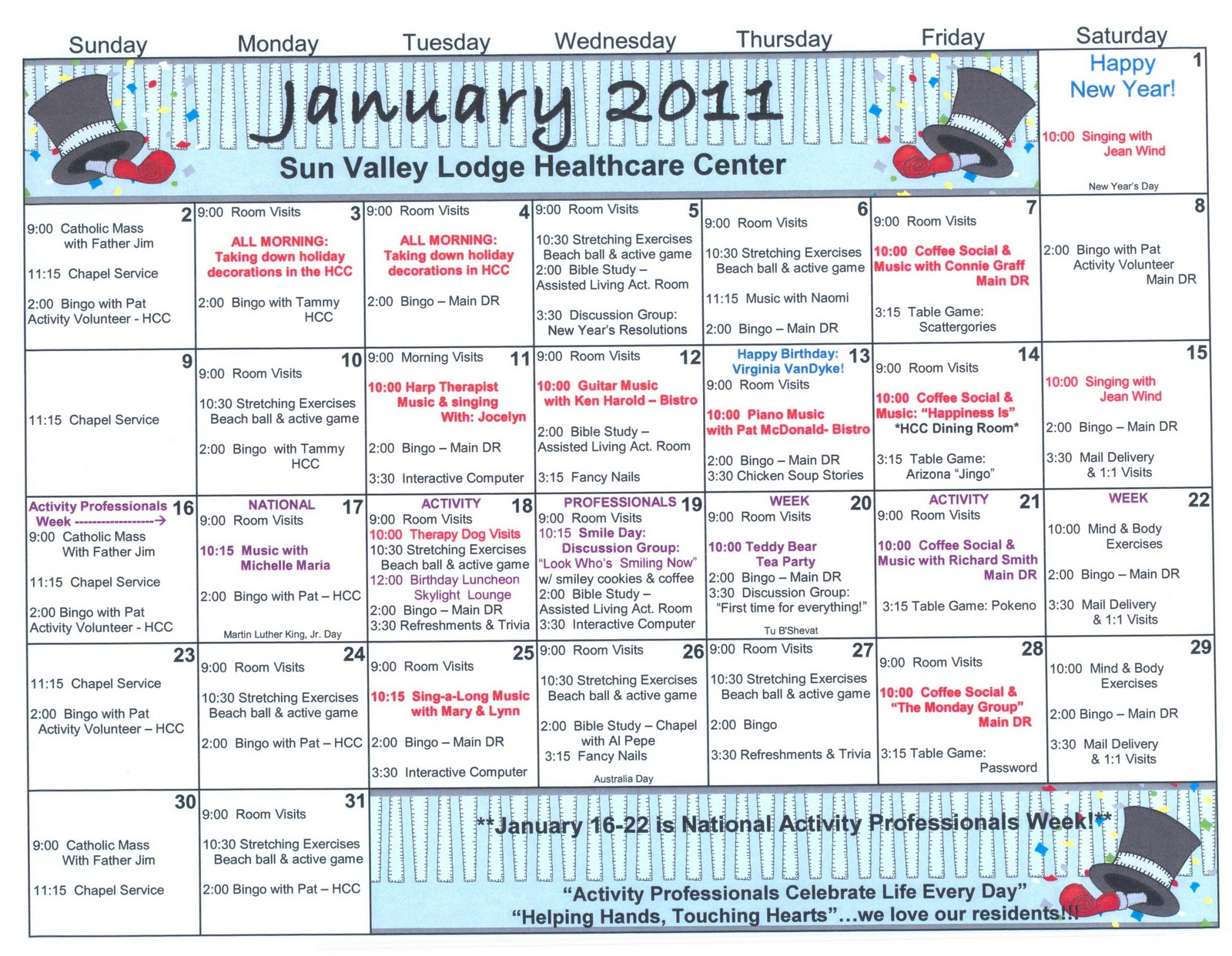 Calendar Ideas For January : January skilled nursing activities welcome to sun valley