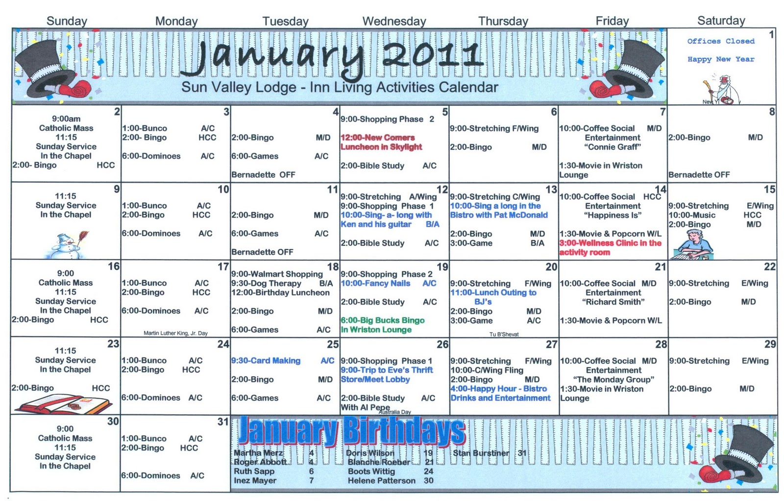 ... & Life Care Journal: January Assisted Living Activity Calendar