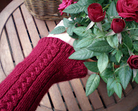 red fingerless gloves or armwarmers with a braid design together with a red rose