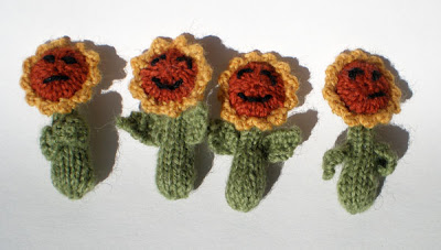 knitted sunflower magnets