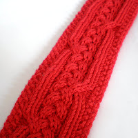 knitted red viking or celtic inspired knotwork headband