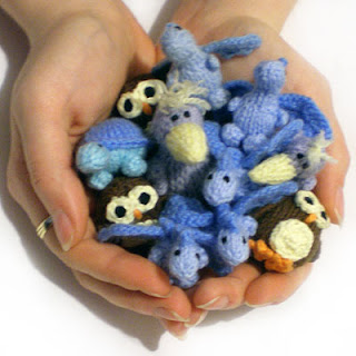tiny knitted creatures animals dragons ravens owls turtle