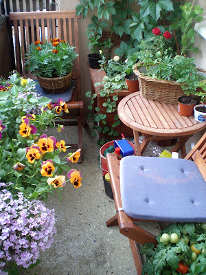 a balcony full of plants