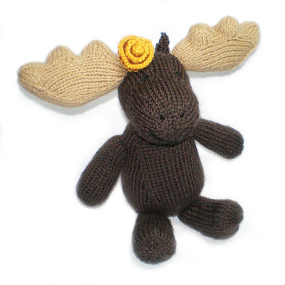 A sweet knitted moose called Marigold.