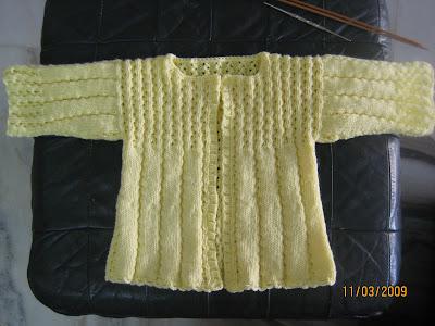 Cyns Crochet Knitting Corner Eyelet Ribbed Baby Cardigan