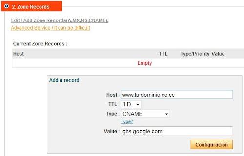 Configuración de dominio