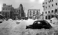 La Plaça Sant Domènec, fotografia de la nevada de l'any 1962