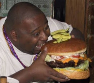 weird people fat guy eating huge