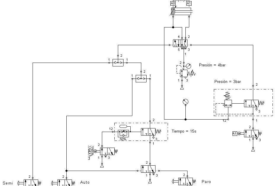 Circuito Neumatico Simple : Automatización industrial ejemplos neumáticos