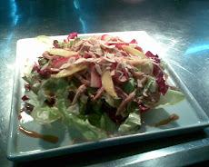 salada de frango defumado com manga