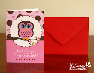Cute pink owl Valentine's day card for girls