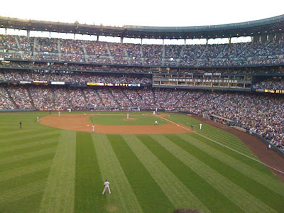 At the Mariners-Yankees game. It's a beautiful    night in Seattle!