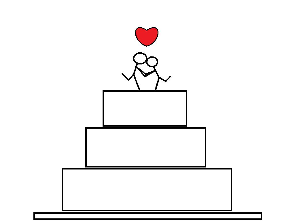 Simple Drawing Wedding Cake