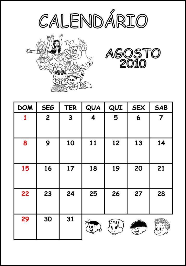 CALENDÁRIO 2014 TEMA TURMA DA MÔNICA NA COPA DO MUNDO