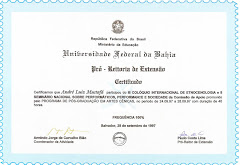 Certificado Etnocenologia