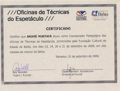Certificado Oficinas de Técnicas do Espetáculo