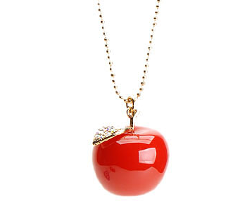 Apple charm pendant necklaces love maegan betsey johnson red apple necklace 55 mozeypictures Image collections