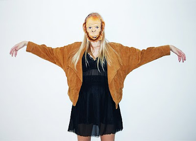 girl posing in a monkey mask, what i wore, lookbook fashion, costume