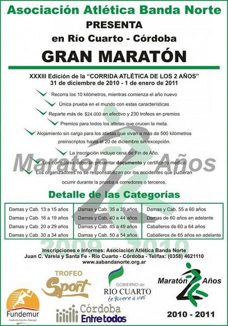 Volantes de carreras xxxiii corrida atletica de los 2 for Rio cuarto 230 anos