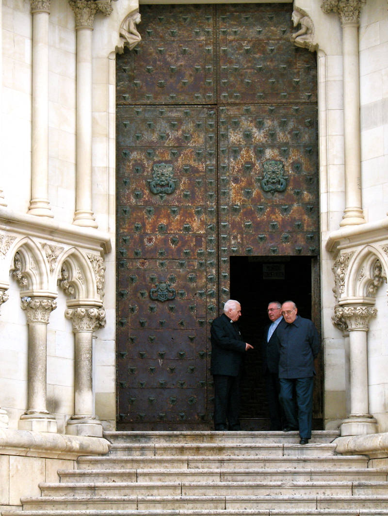 at the cathedral door; click for previous post