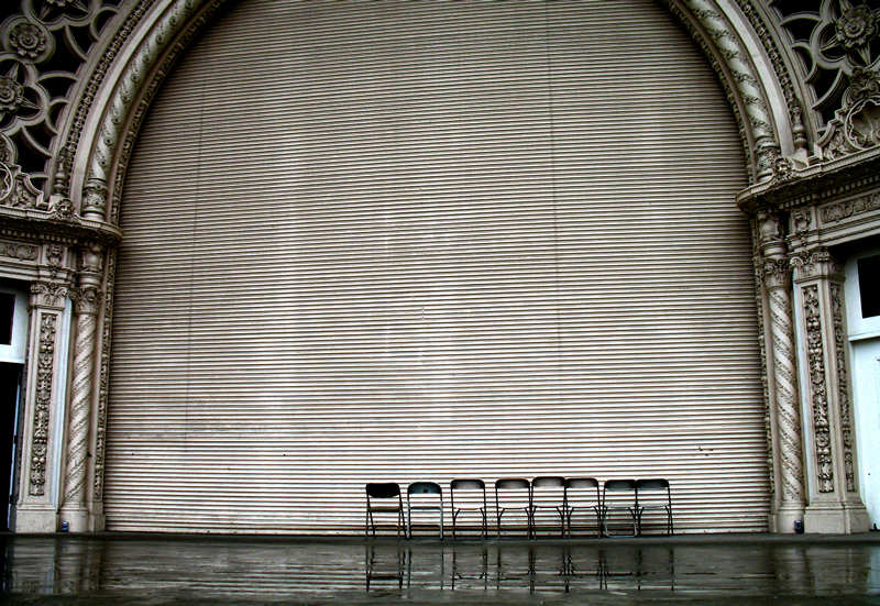 folding chairs on stage; click for previous post