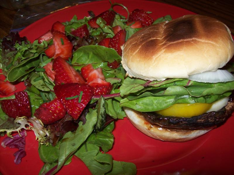 Grilled Portobello Burgers and Balsamic Strawberry Salad ...