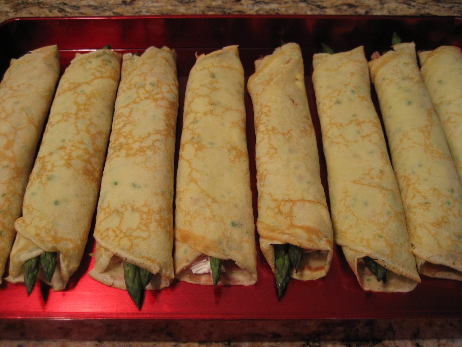 ... Food: Crêpes with Prosciutto, Goat Cheese, Asparagus and Vodka Sauce