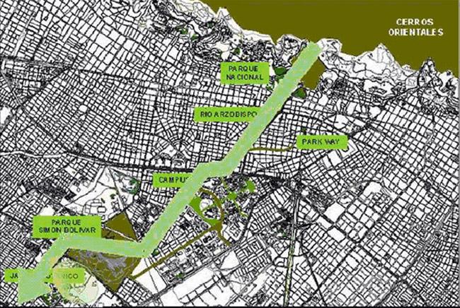 Mapa eje ambiental de Teusaquillo
