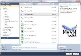 Creating a new MvvmLight (WP7) solution