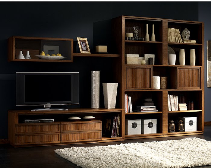 Entertainment and bookcase wall unit. TIBET craftsman furniture collection design by Somerset Harris