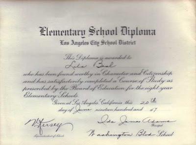 Lils'a 1947 L.A. Elementary School Diploma