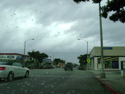 parked at 4:55 pm - first rain drops on my windshield