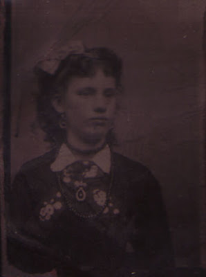Toothy Gal with a Bow in Her Hair - Tintype