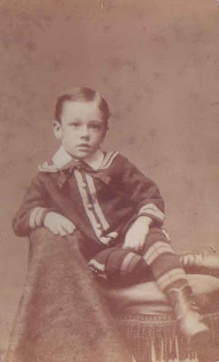 Little Boy with Bow Tie and Striped Pants - CDV