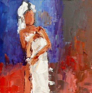 White Towel - Female Figurative Palette Knife Painting - Jennifer