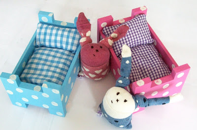 handmade wooden beds for sock bunnies