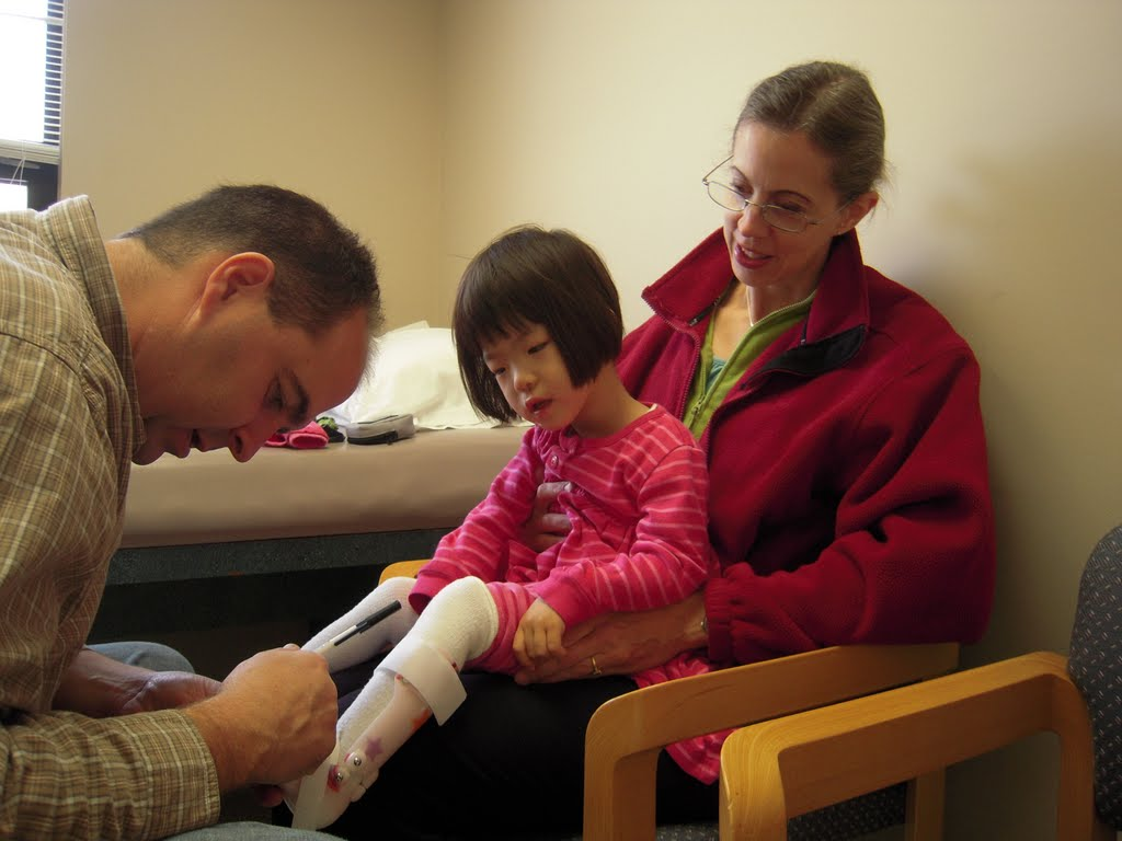 That's an acronym for Ankle Foot Orthosis, a brace that fits over Joy's foot ...