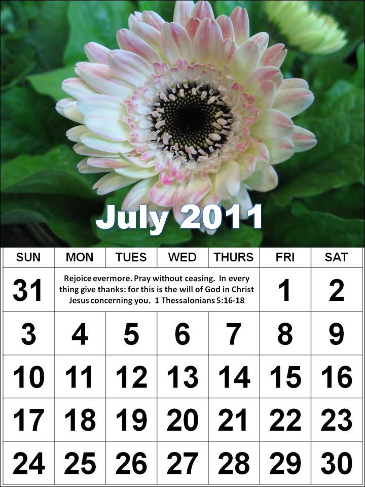 ... this Free Christian Monthly Calendar 2011 July with Bible verses