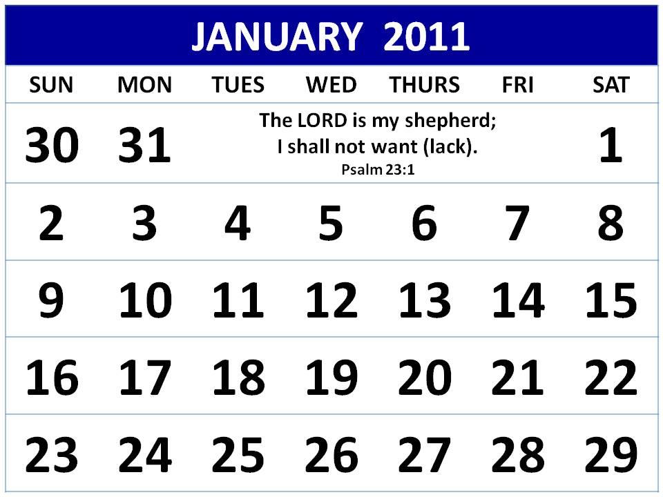 january calendars 2011. Christian January 2011