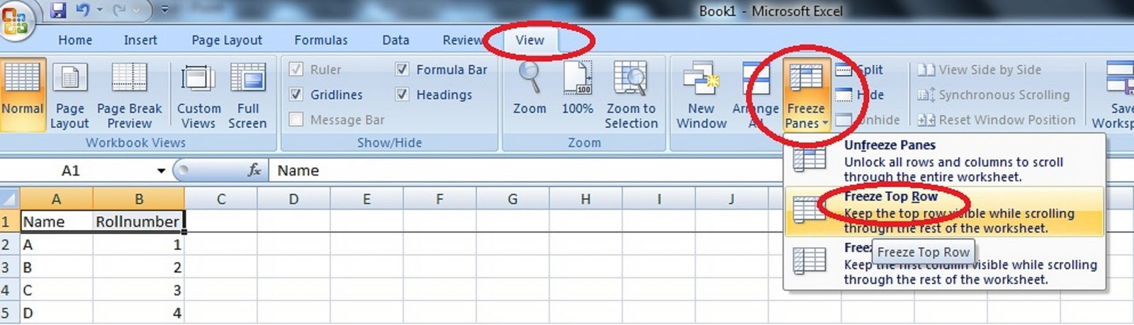 How To Fix Or Freeze Header In Microsoft Excel 2007