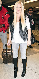 Heidi Montag Flying with Her Louis Vuitton Luggage