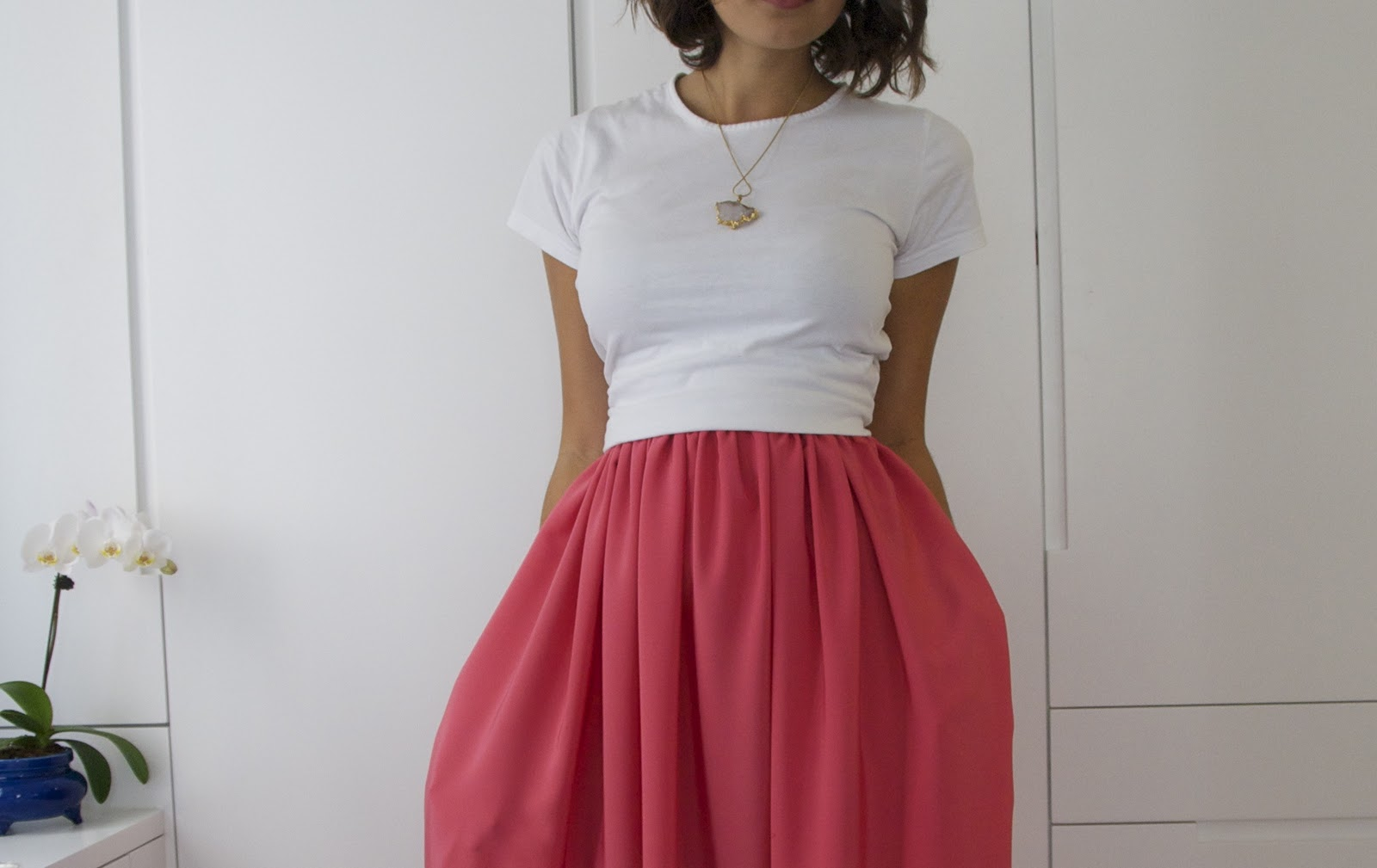 diy weekly jil sander inspired bright pink maxi skirt
