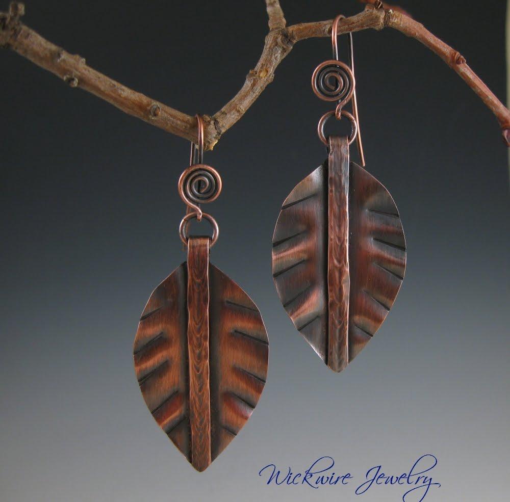 Wickwire Jewelry: Fold Formed Copper Leaf Earrings